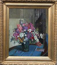 HERBERT DAVIS RICHTER BRITISH OIL PAINTING FLORAL BOUQUET ART DECO 1874-1955