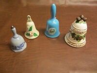 VINTAGE GROUP OF 4 CERAMIC TYPE BELL BELLS VARIOUS MAKERS Lot # 4 see others too