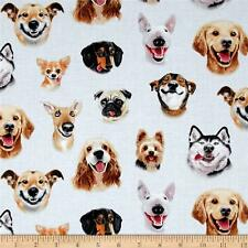 DOGS Fabric Fat Quarter Cotton Craft Quilting - DOG SELFIES Laughing Smiling