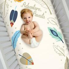 Feather/Adventure Awaits Fitted Crib 100% Cotton Sheet- Navy, Tan, & Red by NoJo