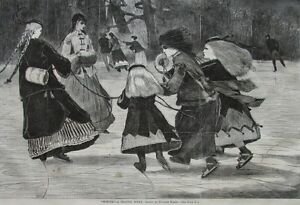 Winslow Homer Winter A Skating Scene Harper's Weekly Wood Engraving 1868