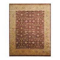 """7'10"""" x 10'1"""" Hand Knotted 100% Wool Jaipur 200 KPSI Oriental Area Rug Maroon"""