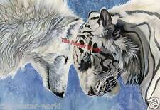 Beautiful White Tiger And Wolf Home Decor Picture Poster Wall Art Print New