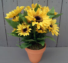 Artificial Sunflowers in Terracotta Pot - Beautiful Potted Flowers