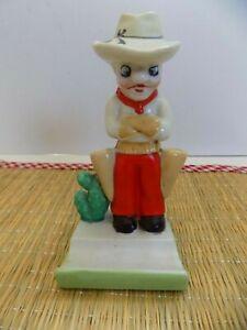"Vintage ""Cowboy"" Bisque Toothbrush Holder...Japan"