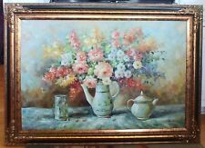 """BEAUTIFULLY FRAMED VINTAGE OIL PAINTING CANVAS 24"""" x 36"""" FLORAL VASE POT PITCHER"""
