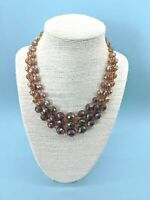 Vintage 1950s Triple Strand Amber + Purple Aurora Borealis Glass Necklace RARE