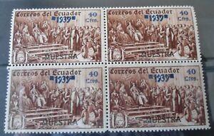 Ecuador 1939 40 Ctvs Specimen Block of Four    Mint