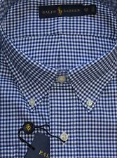 New $110 Polo Ralph Lauren Long Sleeve Blue Checked Cotton Twill Shirt / Big 3X