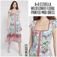 2020 NWT Alice + Olivia Estrella Wildflower Floral Midi Dress $440 Sz 4 Small