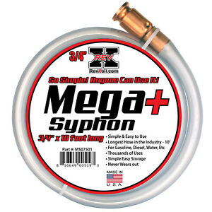 "REV X Mega Syphon - 3/4"" x 10' Self Priming Siphon Hose for Water, Gas, Diesel"
