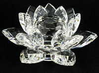 CRYSTAL CUT LOTUS FLOWER ORNAMENT WITH GIFT BOX CLEAR COLOUR Home Decor