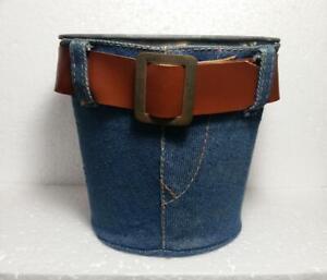 Vintage Blue Jean Covered Metal Tin Bucket, Planter, Candy Pot, Hong Kong, 70's