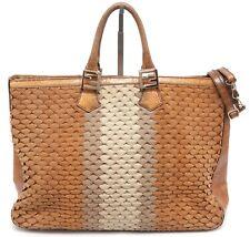 26603ebc3edf FENDI Tote Bag Suede Snakeskin Tan Cream Large Top Handle Shoulder Strap