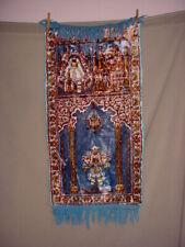 Vtg Prayer Rug Velveteen Wall Hanging 36 Inch Blue