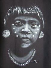 NATIVE YANOMAMI GIRL PORTRAIT HANDPAINTED IN VENEZUALA