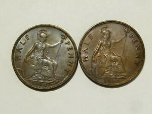 2 x George V Half Pennies 1934 + 1936 Nice Collectable Coins #K80