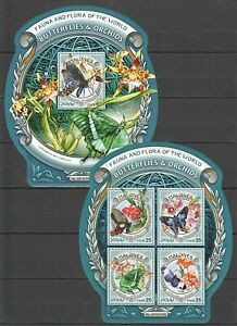 ML640 2016 MALDIVES FAUNA INSECTS BUTTERFLIES ORCHIDS FLOWERS KB+BL MNH