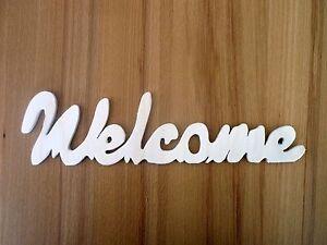 Schriftzug Welcome Willkommen Dekoration Sperrholz / Holz