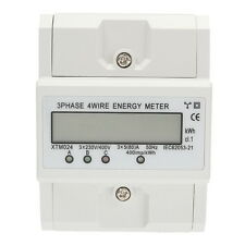 LCD Drehstromzähler Stromzähler Wattmeter Für DIN Hutschiene 50-60Hz 3x5 80A