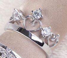 Super carino regolabile color argento anello corona con cristallo