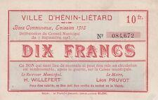 1601 - Ville d'Hénin-Liétard, Bons Communaux de 10 Francs, Emission 1915, RARE