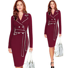 Womens Elegant Slim Wear to Work Office Lady Bodycon Party Casual Pencil Dress
