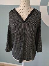 H&M Bluse dunkelblau (fast schwarz) gemustert Größe 36 / Langarm-Bluse Oberteil