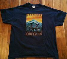 Portland Oregon Cycling T-Shirt Men's XL blue tee bike cycle touring mountains