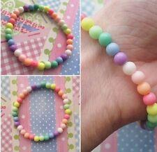 Kawaii Rainbow Bracelet Pastel Stretchy Bracelet Beaded Elastic Gift Unisex