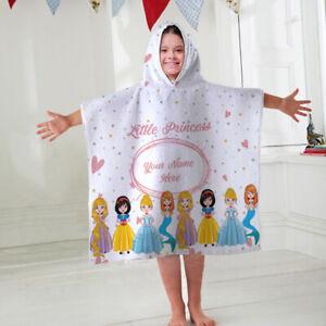 Kids Personalised Hooded Towel Poncho Princess Childrens Bathrobe Swim Bath Sun