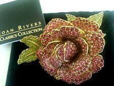 JOAN RIVERS Pink Rose PIN BROOCH 3D Jewel Pink Green CRYSTALS Signed Sold Out LE