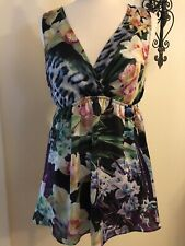 Boston Proper Soft As Silk Orchid Floral V-Neck Blouse S-M