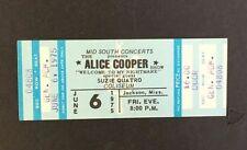 06/6/1975 Alice Cooper Concert Ticket Welcome To My Nightmare Suzie Quatro Vtg