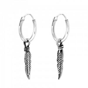 925 Sterling silver Feather ear hoops oxidized