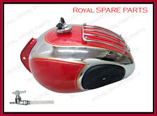 Royal Enfield Chrome Red Petrol Tank With Grill and Knee Pad