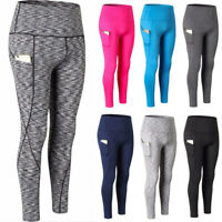Women Yoga Leggings High Waist Fitness Sports Workout Athletic Pants With Pocket