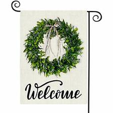 """Happy Spring Summer Welcome Garden Flag 12x 18"""" Double Sided,Buffalo Check Plaid"""