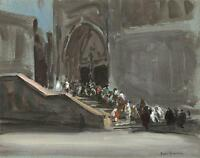 IMPRESSIONIST CATHEDRAL PROCESSION Watercolour Painting c1920 JEAN BOUVACHON