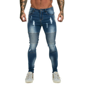 GINGTTO Mens Super Skinny Ripped Jeans Stretch Biker Distressed Denim Trousers
