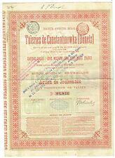 Certificat Action Tôleries de Constantinowka Donetz 1896 Belgique Ukraine