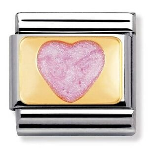 Nomination CLASSIC Gold Love Pink Glittered Heart Charm 030206/43 rrp £22