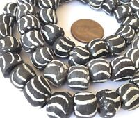 71 Ghana Round White and Black handmade Recycled glass African trade beads-Ghana