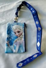 Disney Frozen BLUE Wallet Lanyard Elsa Anna Cellphone Fast Pass Badge ID Holder
