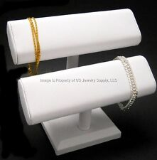 """White Oval Double T Bar Display for Bracelets, Watches Chains  7 1/2""""W x 7""""H"""