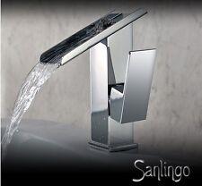 Wunderschöne Design Wasserfall Waschbecken Einhebel Armatur Chrom Sanlingo