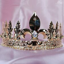 "Men Tiara Diadem 4"" Imperial Medieval Gold Crown Rhinestone Parade Pageant Party"