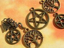 6 pc. Loose WICCAN Charm Lot Pentacles DRAGON Tree PAGAN star Bronze Finish DIY