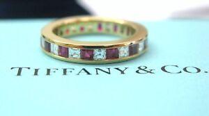 Tiffany & Co Ruby & Diamond Eternity Band 18Kt Yellow Gold 1.40CT Size 5