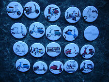 20 SCOOTER BUTTON BADGES COLLECTION MOD SKA SCOOTER POSTER NORTHERN SOUL GP LI